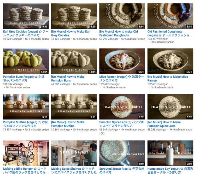 Några av matlagningsfilmerna på Peaceful Cuisines Youtube-kanal.