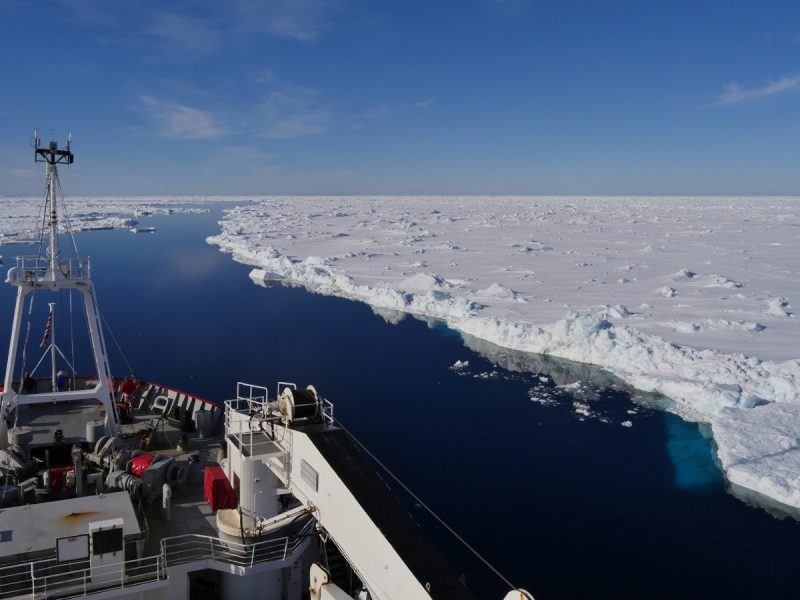 Adrian Glover  Forskningsfartyget R/V James Clark Ross strävar framåt i den antarktiska isen.