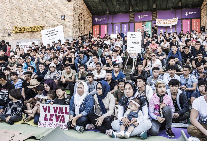 Lars Pehrson/SvD/TT  Manifestation på Medborgarplatsen för att stoppa utvisningarna till Afghanistan i augusti 2017.