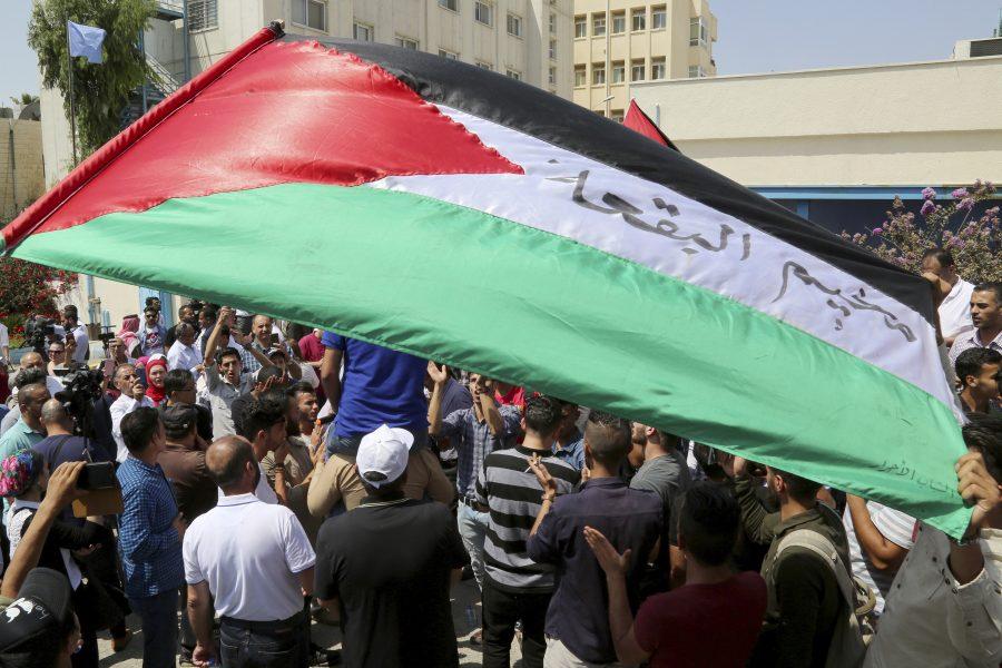 Raad Adaylah/AP/TT |Palestinska flyktingar håller upp flaggor och skanderar mot USA:s beslut att strypa bidrag till FN:s organ för palestinska flyktingar (UNRWA).