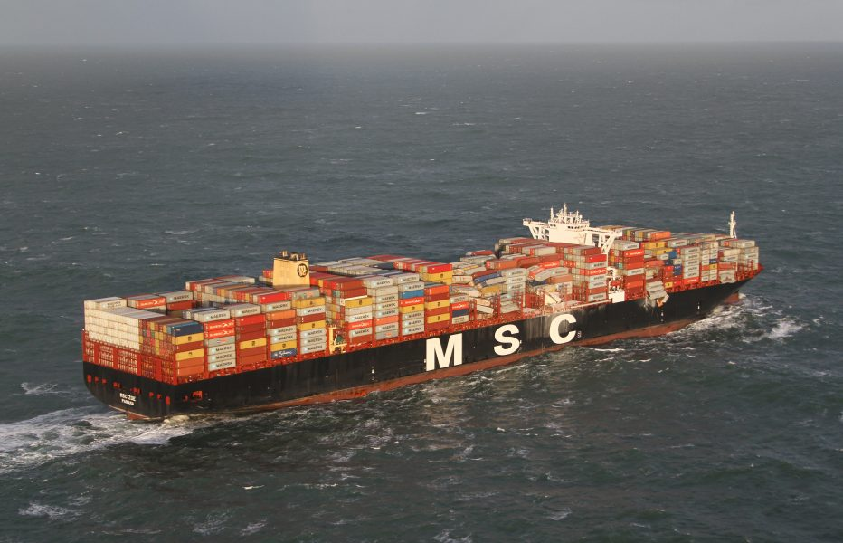 MSC Zoe efter förlusten av containrar.