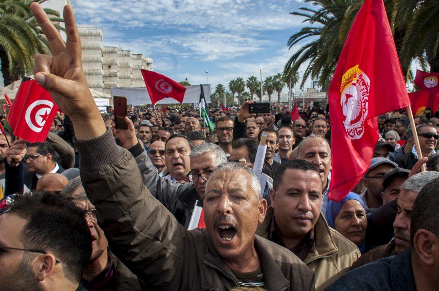 Strejkande tunisier i november 2018.