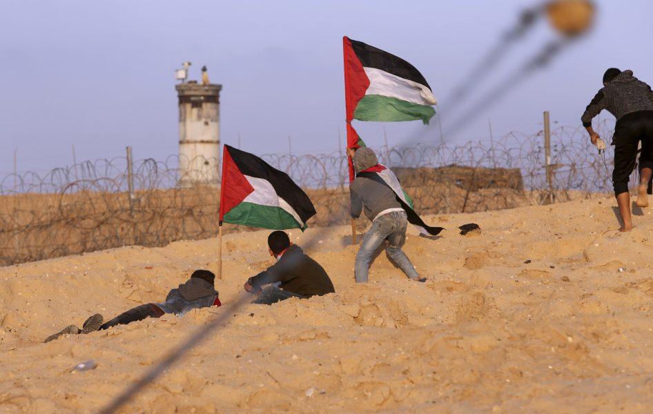 Några palestinier tar skydd medan andra kastar sten på israeliska soldater på andra sidan det staket som skiljer Gaza och Israel åt.