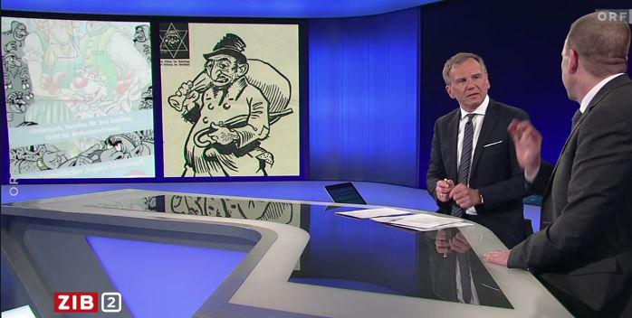 Den österrikiske programledaren Armin Wolf jämförde en karikatyrteckning från FPÖ:s ungdomsförbund med propaganda från Nazityskland.