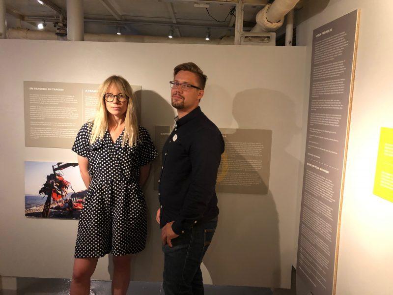 Cajsa Rundström och Johannes Olsson har ansvarat för att ta fram utställningen Remembering Lampedusa på Maritiman.
