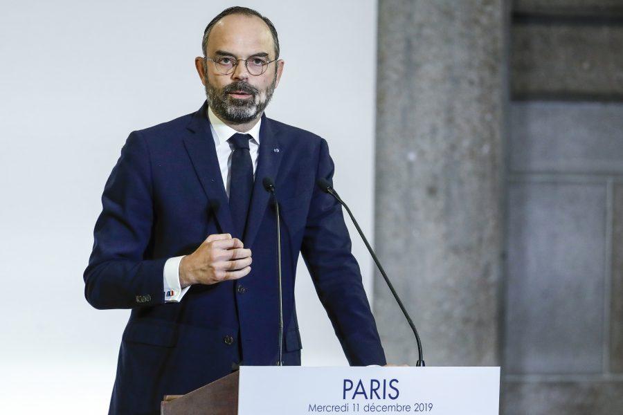 Frankrikes premiärminister Édouard Philippe under sitt tal på onsdagen då han presenterade regeringens förslag till pensionsreformer.