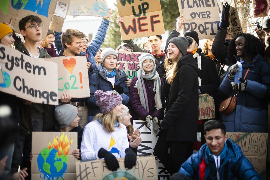 Den 24 januari var det Fridays for future-demonstration i Davis i Schweiz under World economic forum.