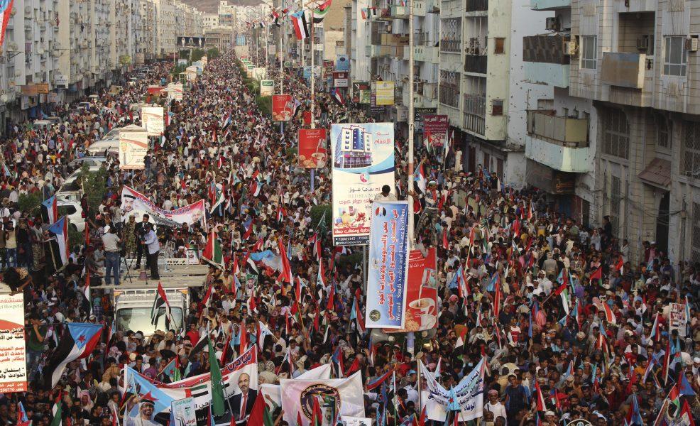 Separatister under en manifestation i Aden i södra Jemen i september i fjol.