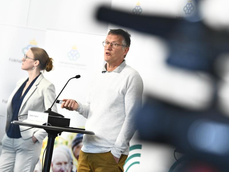 Anders Tegnell, statsepidemiolog, Folkhälsomyndigheten, under den dagliga myndighetsgemensamma pressträffen om covid-19.