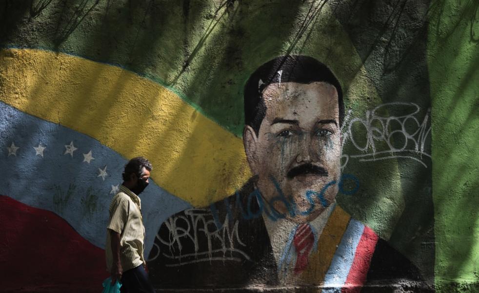 En väggmålning av Venezuelas president Nicolás Maduro.