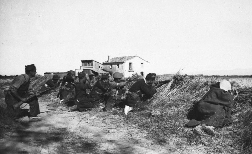 Bild tagen i september 1936 från det spanska inbördeskriget.