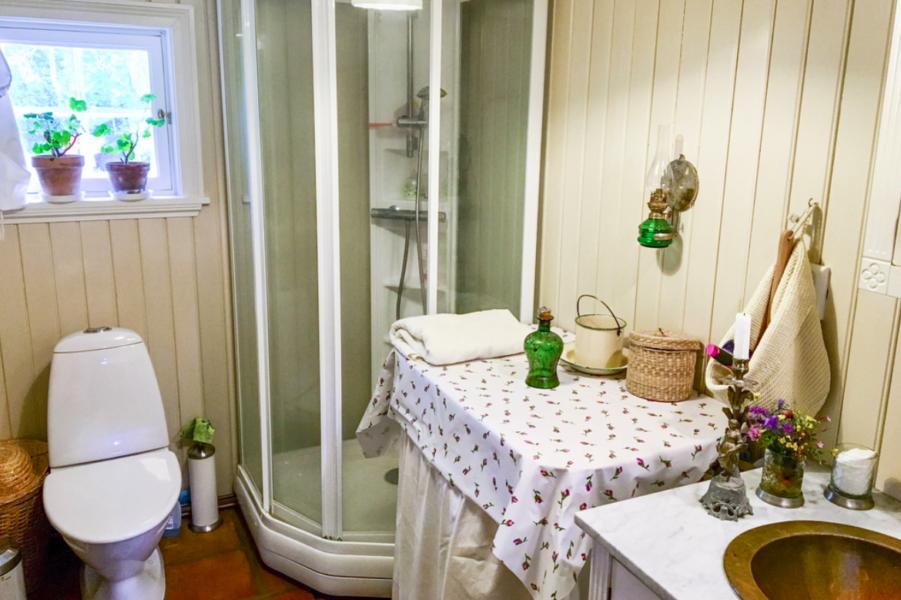 Badrummet fick pärlspont på väggarna.