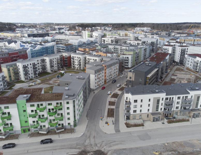 Stockholms nya stadsdel Barkarbystaden växer fram.