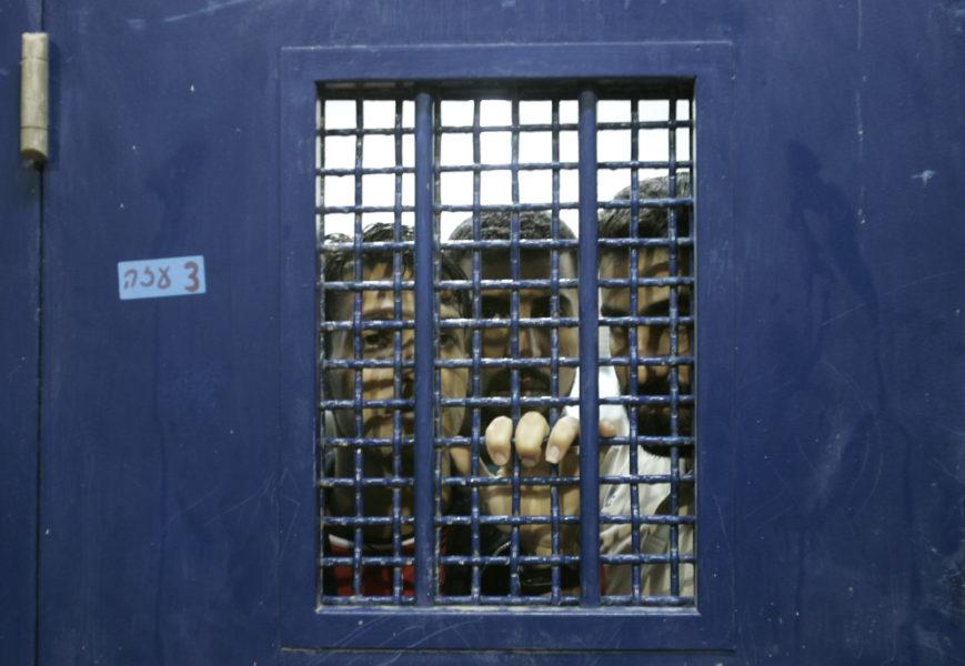 Arkivbild på palestinska fångar iKetziotfängelset.