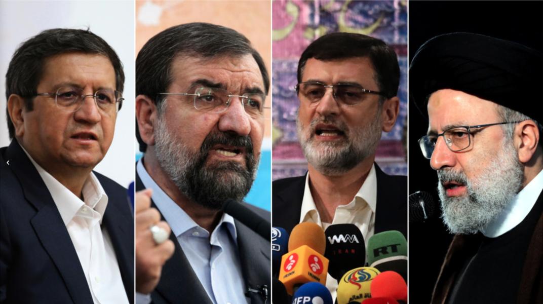 /TTDe fyra kvarvarande kandidaterna, från vänster till höger: Abdolnaser Hemmati, Mohsen Rezai, Amir-Hossein Ghazizadeh Hashemi och Ebrahim Raisi.