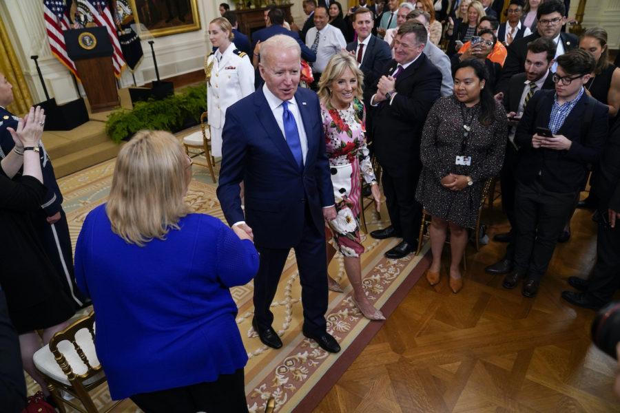 President Joe Biden vid ceremonin där han uppmärksammade pridemånaden i USA.