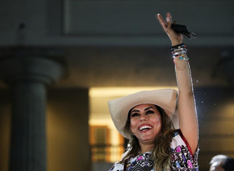 Morena-politikern Evelyn Salgado firar vinsten i valet till guvernörsposten i den mexikanska delstaten Guerrero i början av juni.