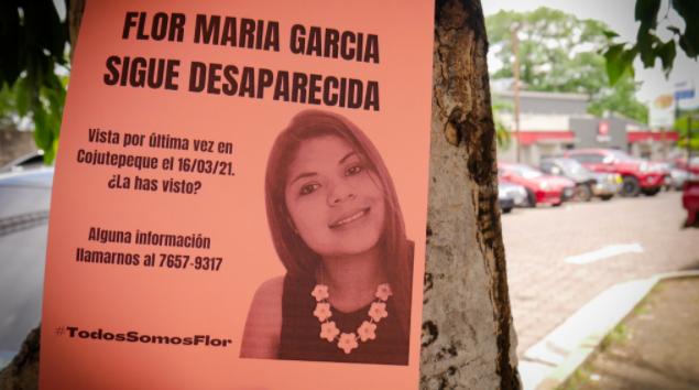Ett av de flygblad som fram till nyligen efterlyste Flor Maria Garcia, som var försvunnen sedan i mars.