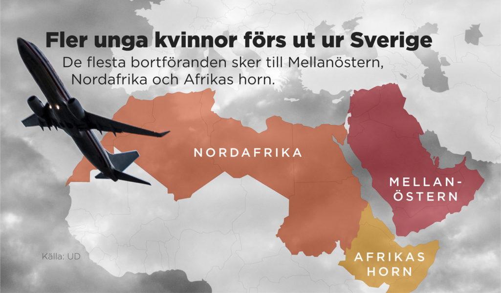 Antalet flickor och unga kvinnor som ber om hjälp efter att ha förts ut ur Sverige har ökat under 2021.