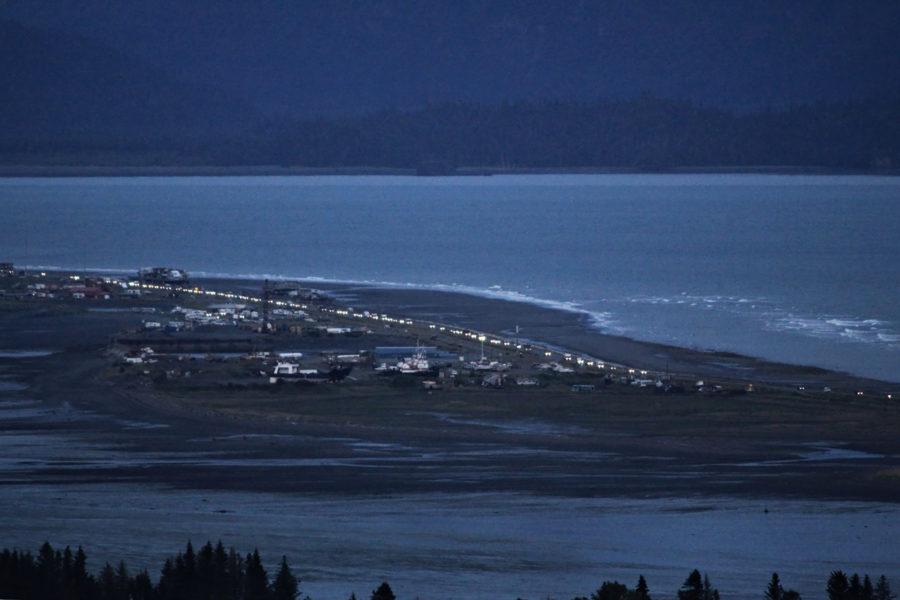 Arkivbild från Homer, Alaska, i närheten av skalvområdet.