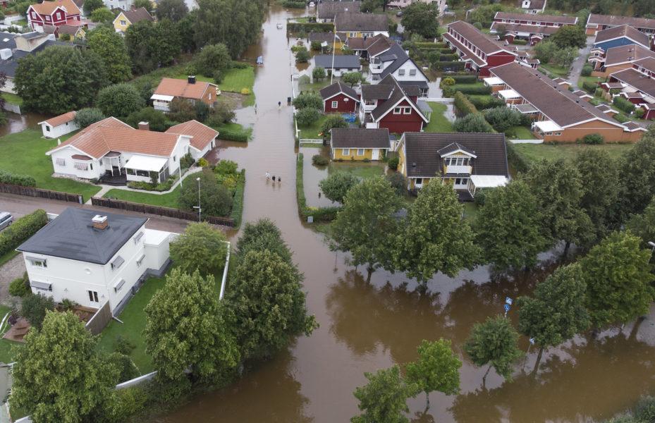 Översvämning i Gävle efter extrema skyfall.
