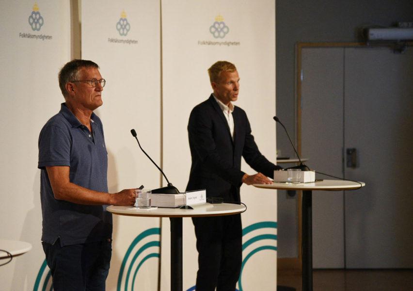Anders Tegnell, statsepidemiolog på Folkhälsomyndigheten, under torsdagens pressträff om pandemiläget.