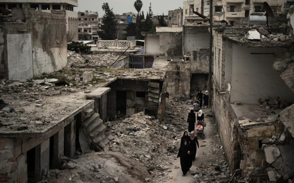 En bild från Idlib i Syrien, en av de svårt drabbade städerna i inbördeskrigets Syrien.