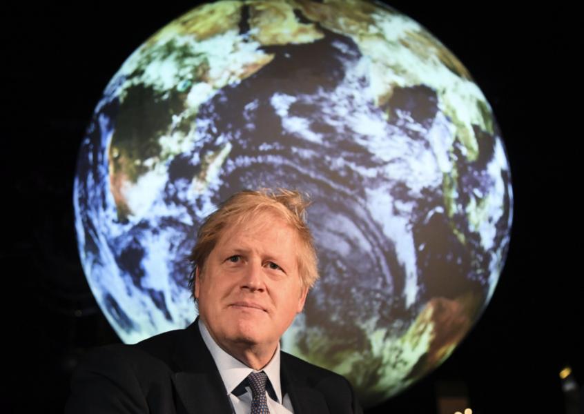 Storbritanniens premiärminister Boris Johnson i samband med en pressträff inför klimattoppmötet i Glasgow.