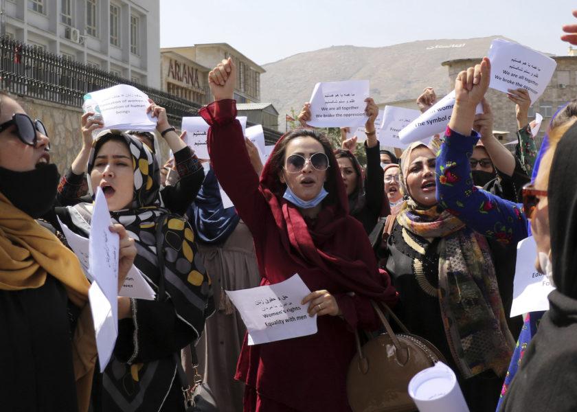 En liknande protest i Kabul i fredags.