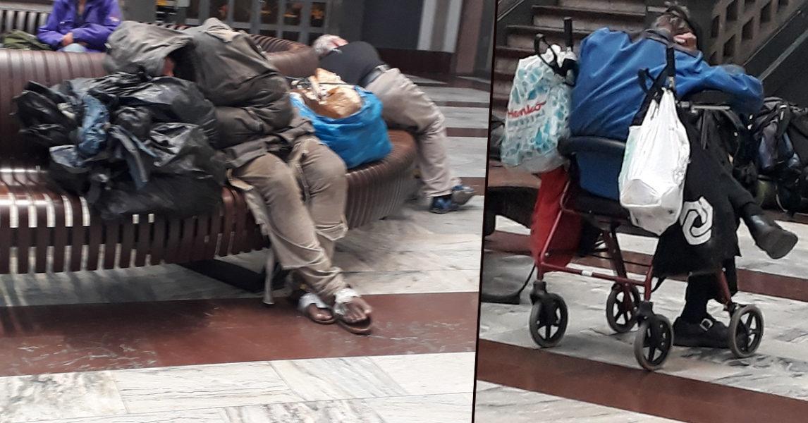 På Centralen sov några medmänniskor som inte hade någon annanstans att ta vägen.
