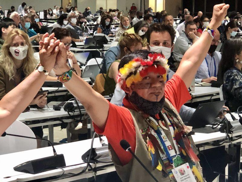 Gregorio Mirabal som leder Coica gläds över att den motion organisationen lagt fram under IUCN:s kongress godkändes med förkrossande majoritet.