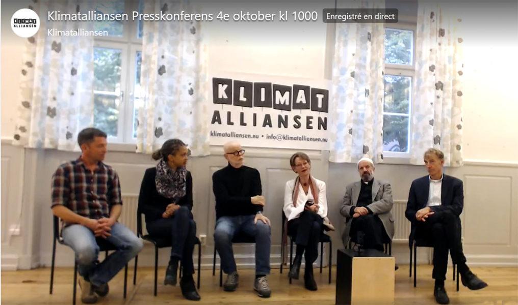 Klimatalliansen introducerar sig vid en presskonferens i Stockholm.
