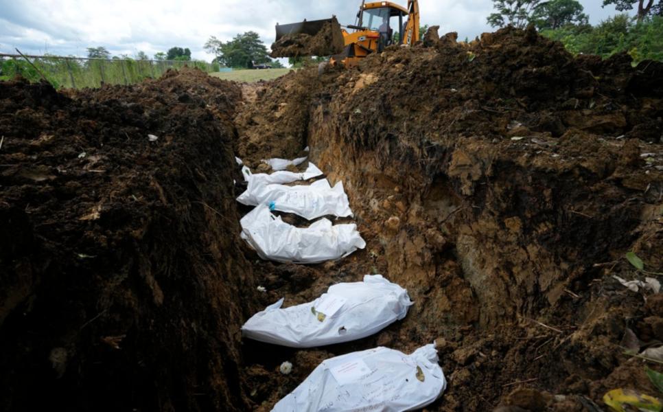En massgrav för femton migranter som omkom tidigare i år i Darién-gapet.